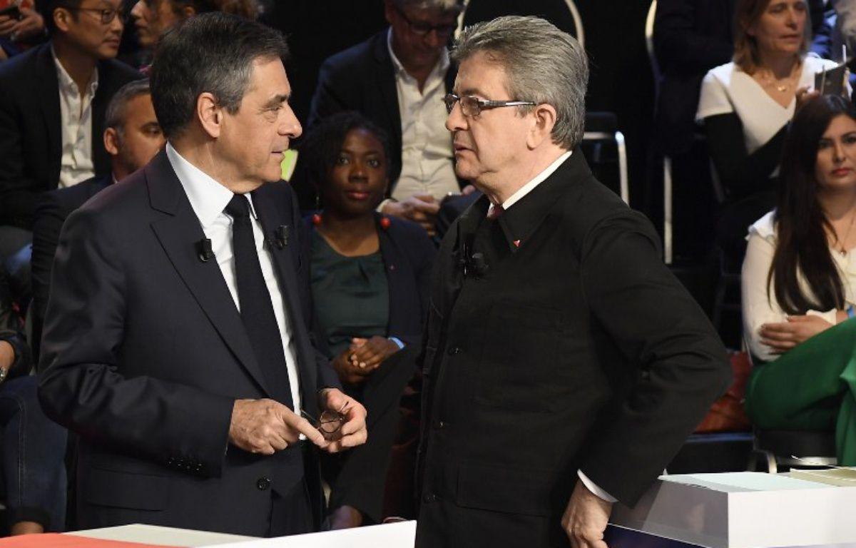 Jean-Luc Mélenchon et François Fillon – LIONEL BONAVENTURE / POOL / AFP