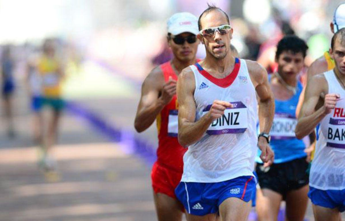 Le Français Yohann Diniz lors du 50km marche des JO de Londres, le 11août 2012. – MARTIN BUREAU / AFP