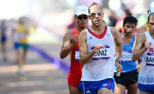 Le Français Yohann Diniz lors du 50km marche des JO de Londres, le 11août 2012.