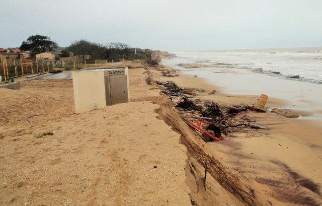 Sur la côte sableuse, le recul du trait de côte a été de 2 à 7 mètres selon les secteurs contre 20 à 40 mètres en 2013/2014.