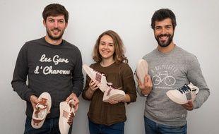 L'équipe nantaise de N'Go Shoes (Ronan Collin, Anaïs Rousseau et Kevin Gougeon)