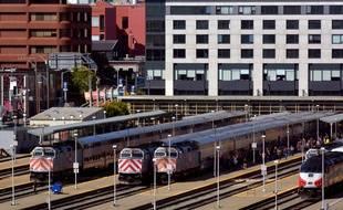 Des trains dans une gare de San Francisco (illustration).