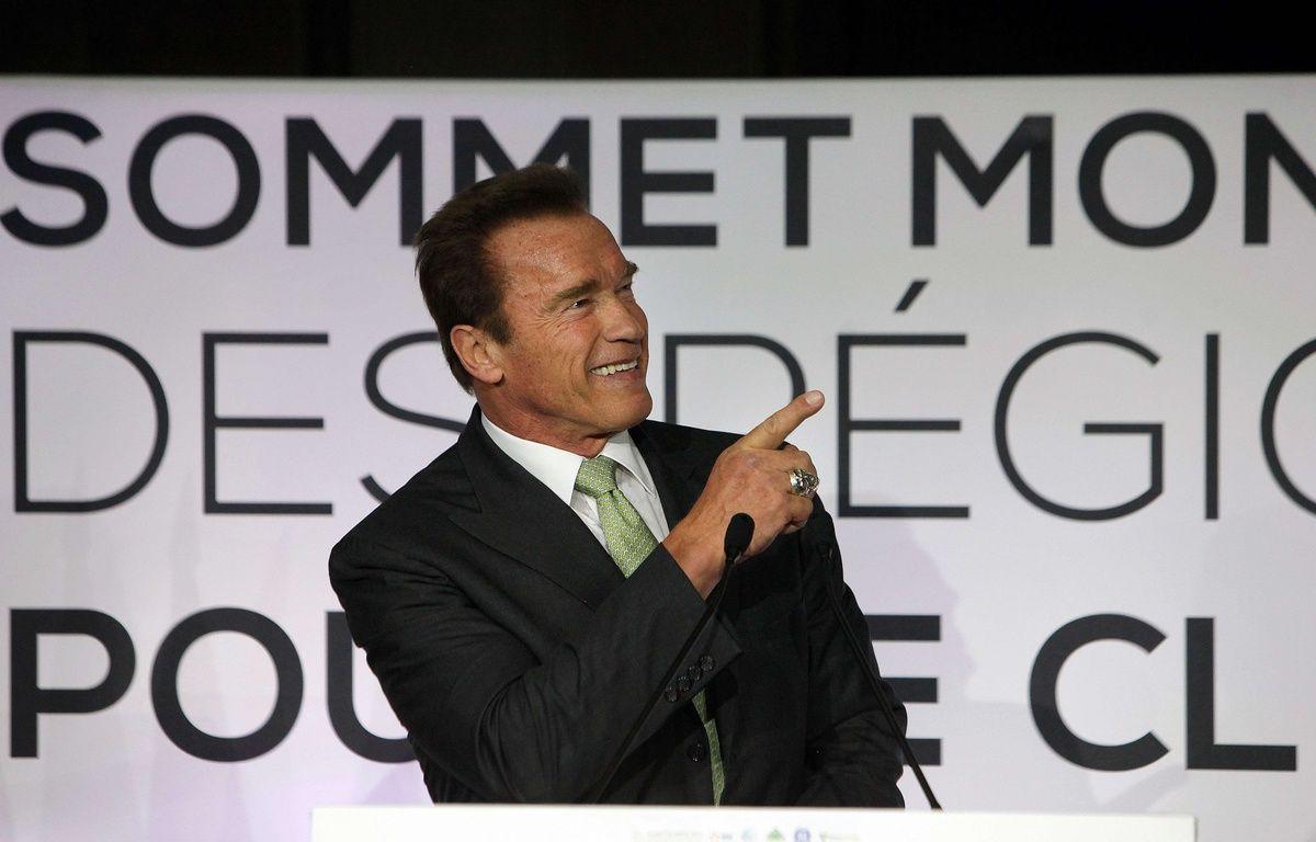 Arnold Schwarzenegger au Sommet mondial des régions pour le climat à Paris en 2014 –  Thibault Camus/AP/SIPA