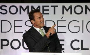 Arnold Schwarzenegger au Sommet mondial des régions pour le climat à Paris en 2014