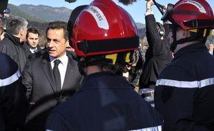 Nicolas Sarkozy en visite en Corse, mardi 2 février 2010.