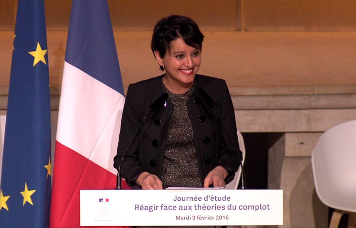Capture d'écran du discours de Najat Vallaud-Belkacem. – DR