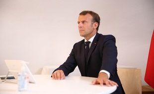 Emmanuel Macron lors d'une visioconférence