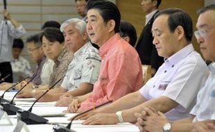 Le Premier ministre japonais Shinzo Abe (c) et le gouvernement assistent le 2 juin 2015 à une rencontre sur le climat à Tokyo
