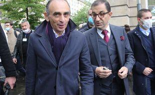 Eric Zemmour et l'ancien du RN Jean Messiha à la manifestation policière à Paris.