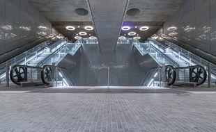 L'entrée de la ligne 14 du métro à la station Mairie de Saint-Ouen.