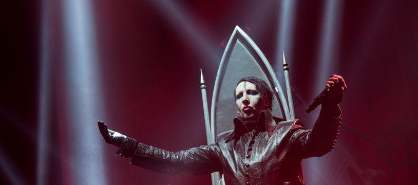 Le chanteur Marilyn Manson en concert à Hambourg