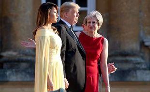 Donald et Melania Trump ont été reçus par Theresa et Philip May à Blenheim Palace, près d'Oxford, le 12 juillet 2018.