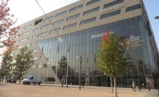 Le 29 septembre 2015. Le siège du conseil régional Rhône-Alpes au Confluent à Lyon.