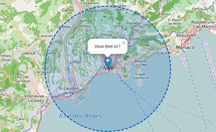Capture d'écran du rayon de 10 km autour de l'avenue Jean-Médecin à Nice, sur le site www.coordonnees-gps.fr