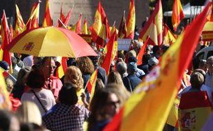 Une manifestation a eu lieu à Madrid le 28 octobre 2017 contre la déclaration d'indépendance de la Catalogne.