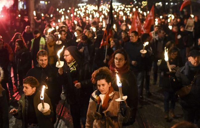 Manifestation à Nantes contre la réforme des retraites, le 15 janvier 2020