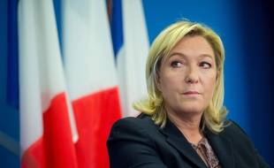 Marine Le Pen, présidente du FN, le 17 février 2015 à Nanterre. CHAMUSSY/SIPA.