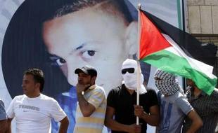 Portrait de Mohammed Abou Khdeir, lors de ses funérailles à Jérusalem-Est, le 4 juillet 2014