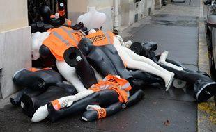 Une opération de RSF devant le consulat d'Arabie Saoudite à Paris en octobre 2019.