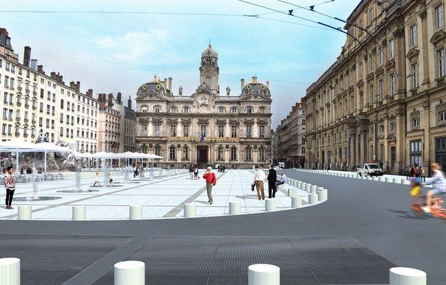 Des blocs de béton seront alignés sur la place des Terreaux de Lyon pour délimiter