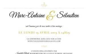 Capture d'écran du faire-part de Marc-Antoine et Sébastien, un couple homosexuel qui va se marier sur Internet le 15 avril 2013.