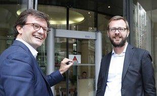 Paris, le 15 juin 2015. Jérôme Lavrilleux (à droite) arrive à la section financière du parquet de Paris accompagné par Christian Saint-Palais, son avocat (à gauche).