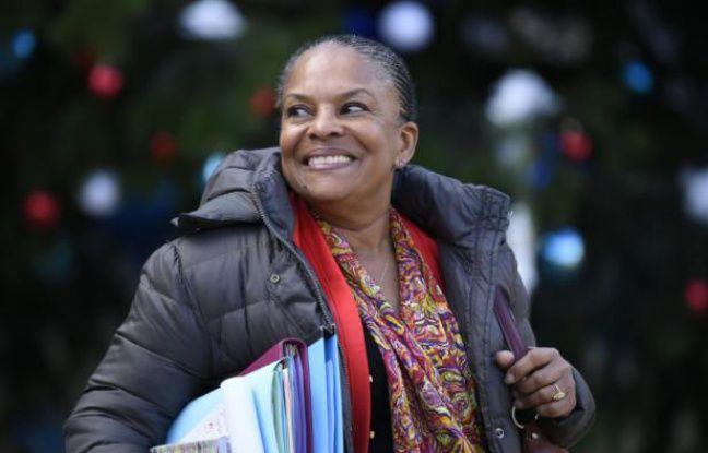 La ministre de la Justice Christiane Taubira quitte le palais de l'Elysée, le 4 janvier 2016