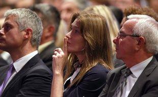 Carla Bruni, au meeting de Nicolas Sarkozy, le 21 octobre 2014, à Nice.