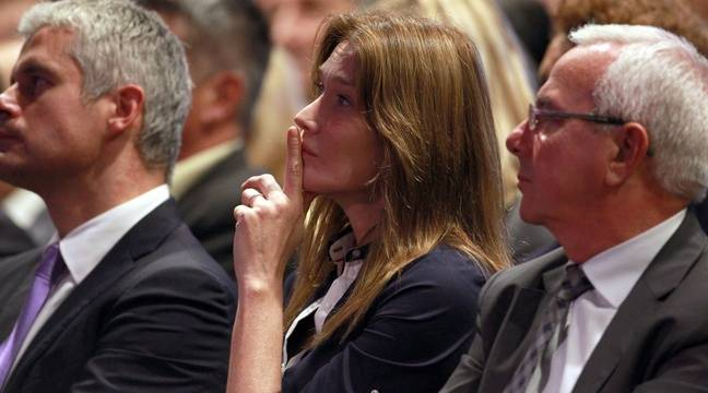 Carla Bruni, au meeting de Nicolas Sarkozy, le 21 octobre 2014, à Nice. – ROBERT/BEBERT/SIPA