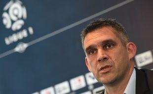 Jocelyn Gourvennec, le nouveau coach des Girondins de Bordeaux lors de sa présentation au Haillan, le 30 mai 2016. / AFP PHOTO / MEHDI FEDOUACH