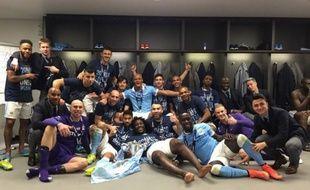 Les joueurs de Manchester City fêtent la victoire en Coupe de la Ligue le 28 février 2016.