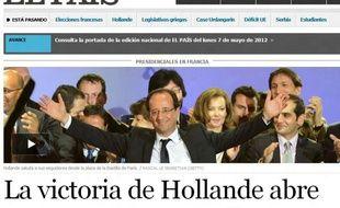 La une du site Internet du journal espagnol «El Pais», au soir de l'élection de François Hollande, le 6 mai 2012.