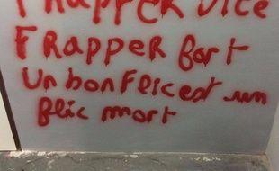 Tag découvert sur les murs des locaux du centre Pierre Mendès France de l'université Panthéon Sorbonne à Paris.