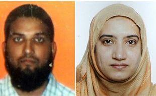 Photo tirée d'une carte d'étudiant de Syed Farook non datée (à gauche), et d'une photo fournie par le FBI de Tashfeen Malik.