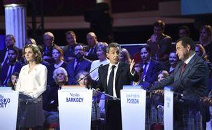 Les candidats à la primaire de la droite et du centre,  Nathalie Kosciusko-Morizet, Nicolas Sarkozy et Jean-Frederic Poisson, lors du second débat télévisé, le 3 novembre 2016.