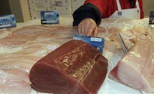 Une poissonnière présente un morceau de thon rouge, Messein, France, le 15 janvier 2010.