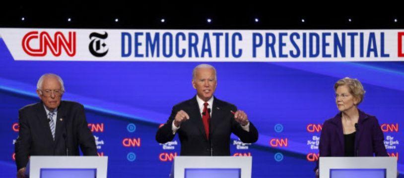 Bernie Sanders, Joe Biden et Elizabeth Warren lors du débat démocrate de mardi.