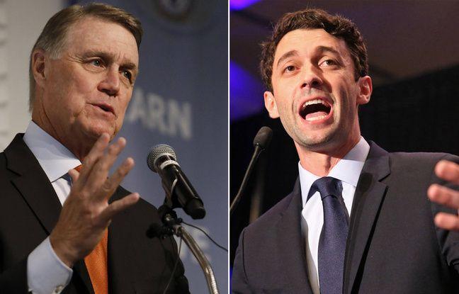 Candidats au Sénat américain David Perdue (républicain) et Jon Ossoff (démocrate).