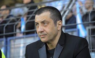 Le président du RC Toulon Mourad Boudjellal dans les tribunes du Stade Yves Du Manoir, à Colombes, le 10 avril 2014.