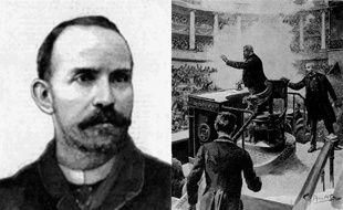 Auguste Vaillant (à gauche), son attentat (à droite)