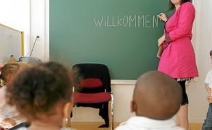 Classe en allemand dans l'école maternelle Saint-Jean.