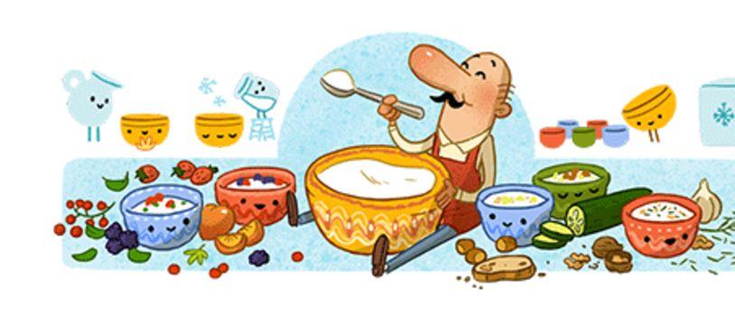 Ce 27 octobre 2020, Google dédie son doodle à Stamen Grigorov, sans qui nous ne mangerions pas de yaourt.