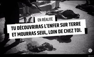"""Capture d'écran de la vidéo """"Stop djihadisme"""" publiée fin janvier par le gouvernement pour dissuader les candidats au djihad."""