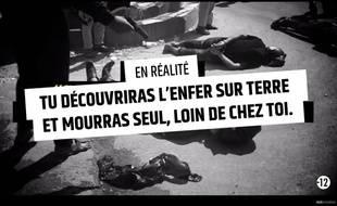 """Capture d'écran de la vidéo """"Stop djihadisme"""" publiée fin janvier 2015 par le gouvernement pour dissuader les candidats au djihad."""