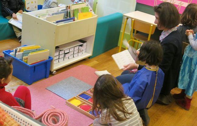 Des élèves de la maternelle Saint-André des Arts à Paris. Le 26/03/2018.