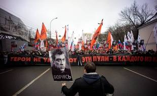 A portrait of Boris Nemtsov seen at the front of the march. - Tens of thousands of people marched through central the Russian Capital to honour opposition politican Boris Nemtsov, who was shot dead on Friday. (Photo by Geovien So / Pacific Press)/PACIFICPRESS_065426/Credit:PACIFIC PRESS/SIPA/1503020712