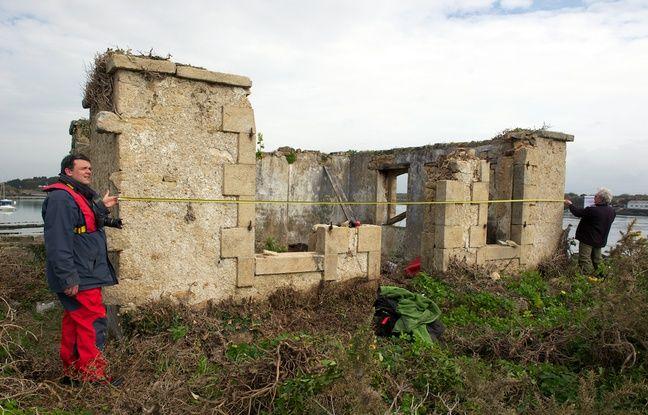 La maison du gardien de l'île de Nohic (Morbihan) avant sa rénovation.