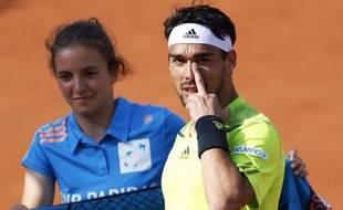 Fabio Fognini adresse un doigt d'honneur au public de Roland-Garros le 31 mai 2014.