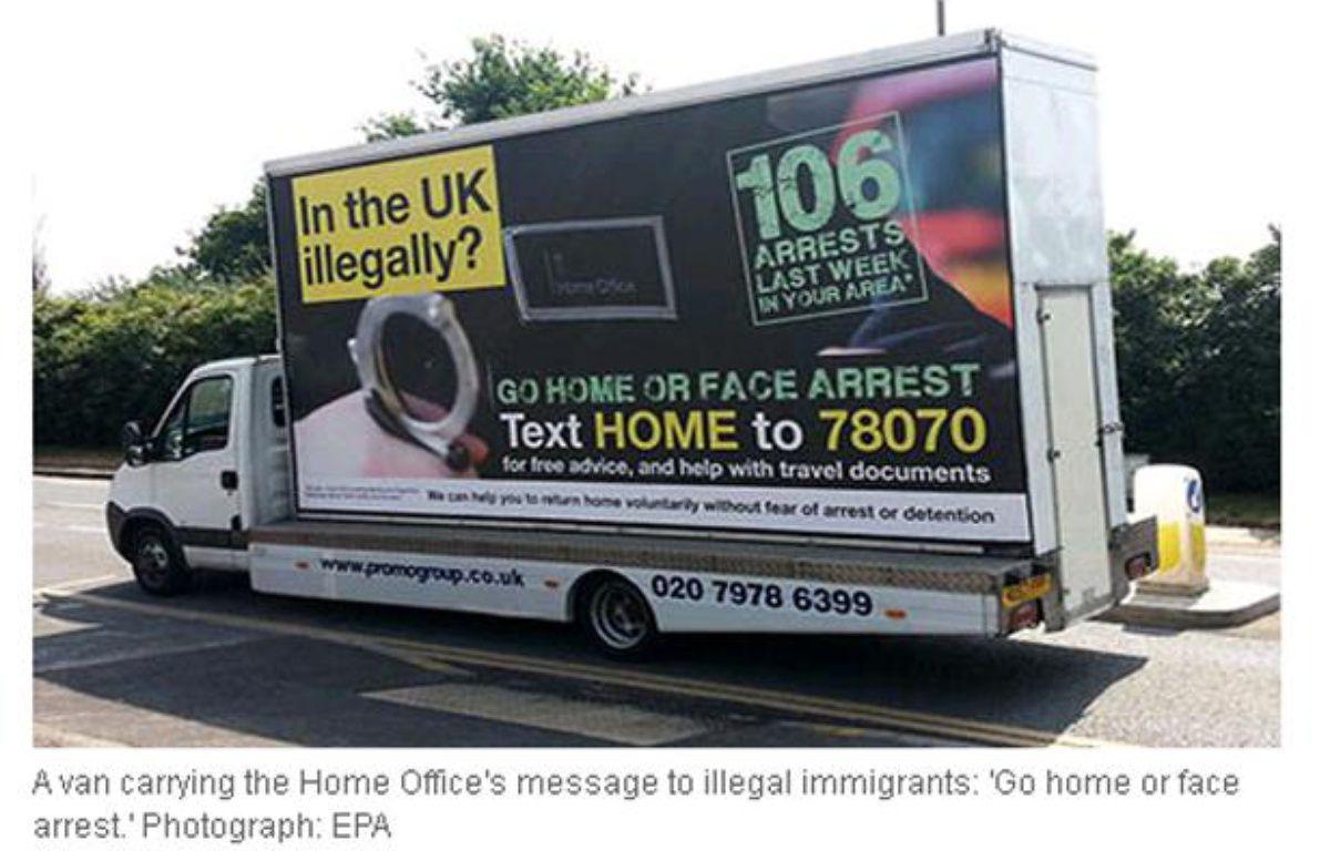 """Capture d'écran du site du Guardian, illustrant la campagne """"Go home"""" destinée aux immigrés illégaux en Grande-Bretagne. – www.theguardian.com"""