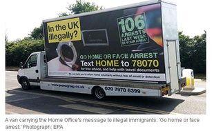 """Capture d'écran du site du Guardian, illustrant la campagne """"Go home"""" destinée aux immigrés illégaux en Grande-Bretagne."""